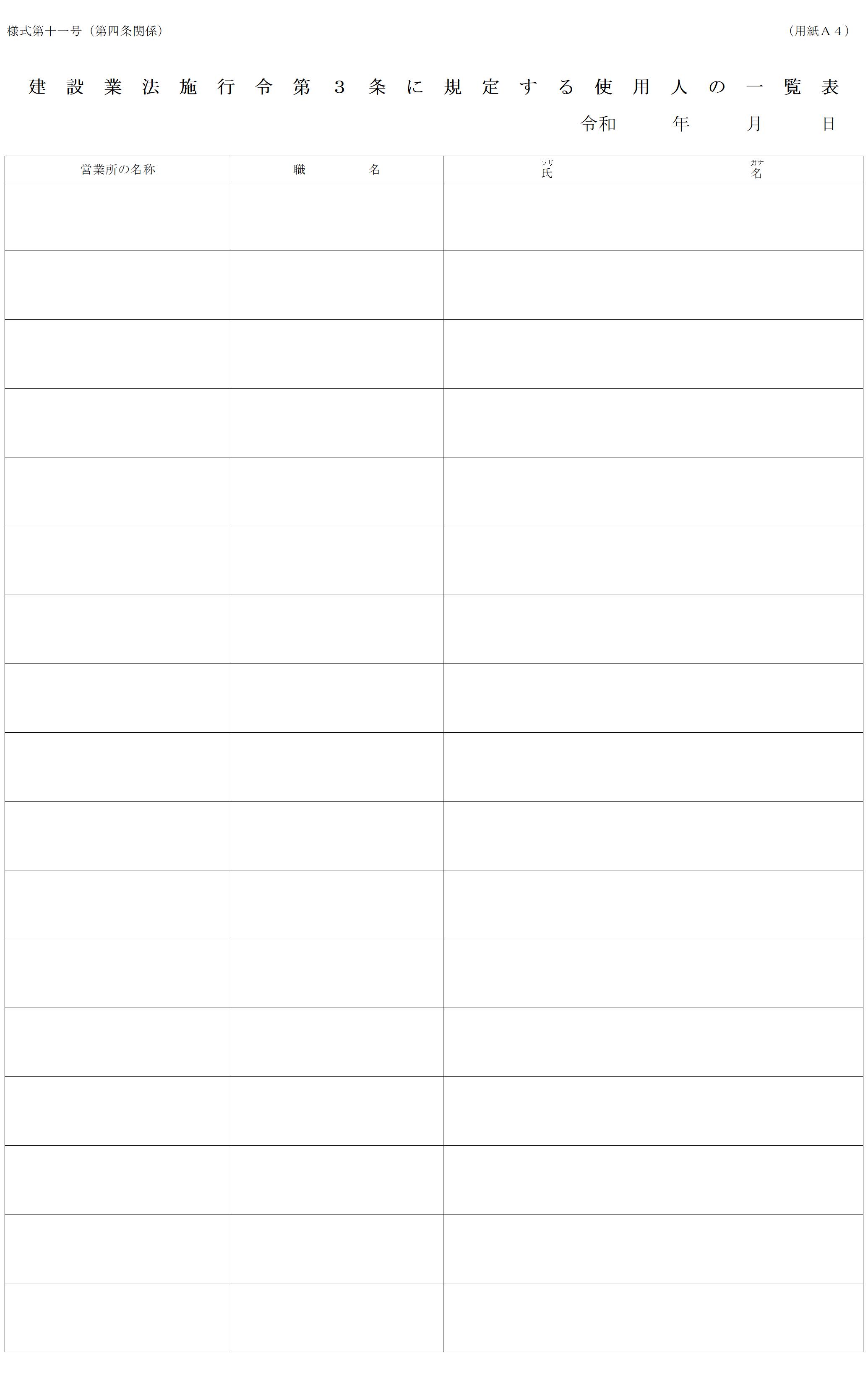 令3条使用人の一覧表の記入例【建設業許可・申請書類の書き方解説 ...